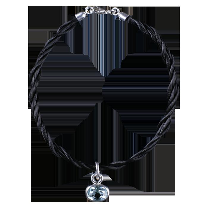 01-Armband mit Schweifhaar in Sterlingsilber mit Edeltopas